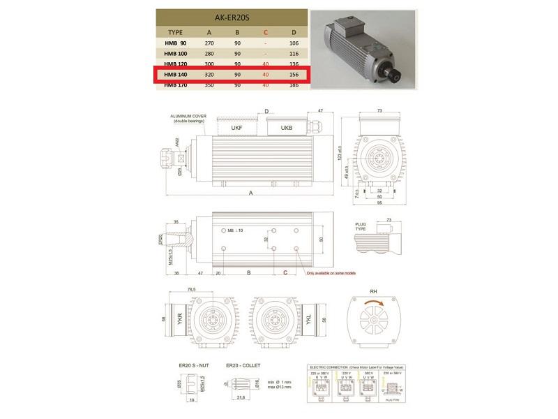 300 Hz ER20 CNC Fräse BZT Frässpindel Fräsmotor 1,1 kW 18.000 rpm 230Volt